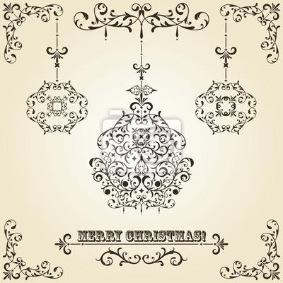 Vector Vintage Christmas Greeting Card with Fir Tree Balls
