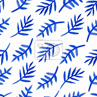 Vector watercolor seamless pattern with hand drawn branches