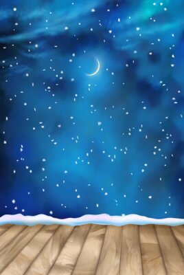 Canvas print Vector Winter Nightly Clouds Background