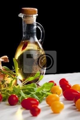vegetables still life with olive oil