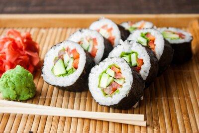 Canvas print vegetarian sushi roll