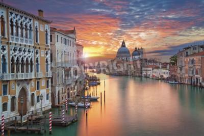 Canvas print Venice. Image of Grand Canal in Venice, with Santa Maria della Salute Basilica in the background.