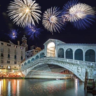 Canvas print Venice Italy, fireworks over the Rialto bridge by night