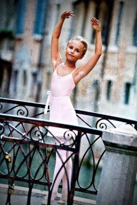 Canvas print Venice, Italy - lovely ballerina on the bridge in Venice
