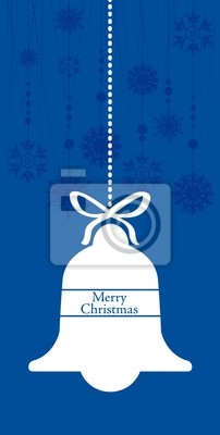 vertical hanging bell greetings Christmas card with blank space