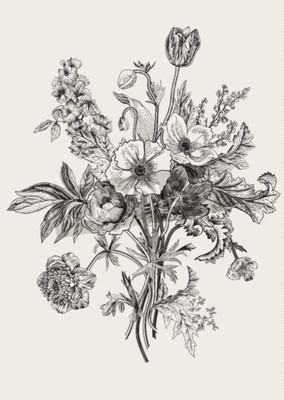Canvas print Victorian bouquet. Spring Flowers. Poppy, anemones, tulips, delphinium. Vintage botanical illustration. design element. Black and white. Engraving