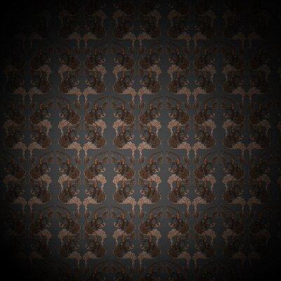 Victorian dark seamless pattern with birds sitting on branches.