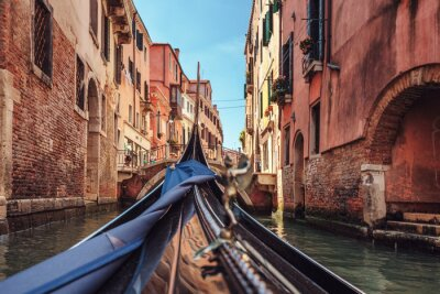 Canvas print View from gondola during the ride through the canals of Venice i