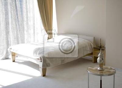 Canvas print View of modern bedroom in sunlight