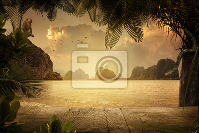 view of nice tropical shore during colorful sunset