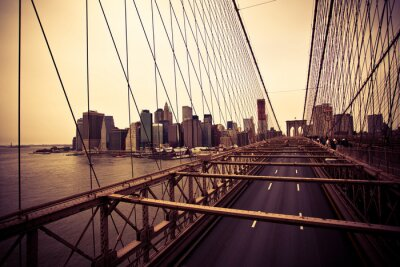 Canvas print View of the Financial District from the Brooklyn bridge