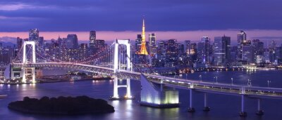 Canvas print view of Tokyo Bay , Rainbow bridge and Tokyo Tower landmark