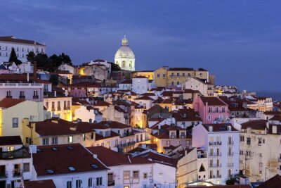 Canvas print View on Old Town in Lisbon in Portugal