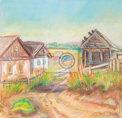 Canvas print Village Gorodets