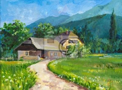Village landscape oil painted.