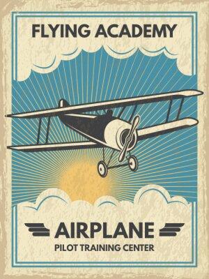 Canvas print Vintage aircaft poster. Vector illustration