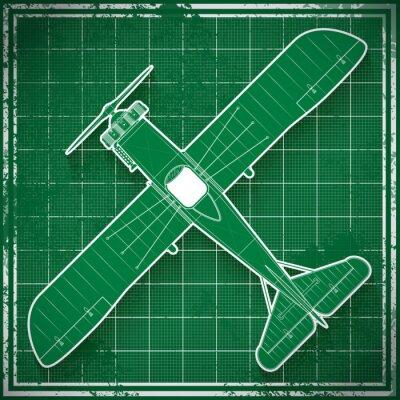 Canvas print vintage airplane blueprint