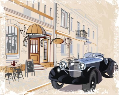 Canvas print Vintage background with a retro car and musicians, old town views.