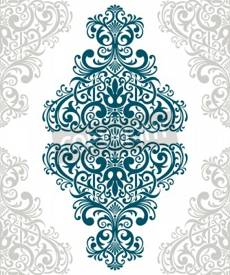 Canvas print vintage baroque border frame card cover flower motif arabic retro pattern ornate