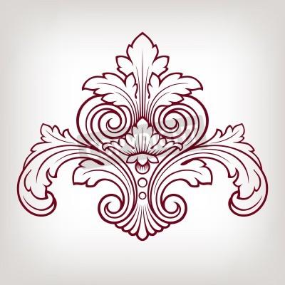 Canvas print vintage Baroque damask  design frame pattern element engraving retro style