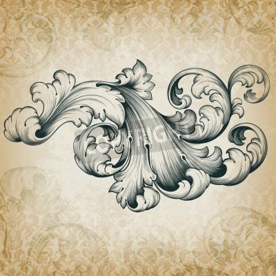Canvas print vintage baroque engraving floral scroll filigree design frame border acanthus pattern element at retro grunge damask background