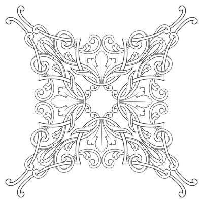 Canvas print Vintage baroque frame engraving scroll ornament