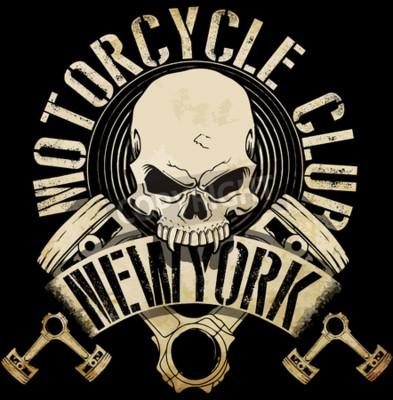 Canvas print Vintage Biker Skull Emblem Tee Graphic
