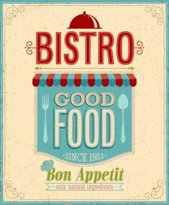 Canvas print Vintage Bistro Poster. Vector illustration.