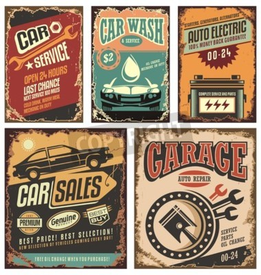 Canvas print Vintage car service metal signs and posters