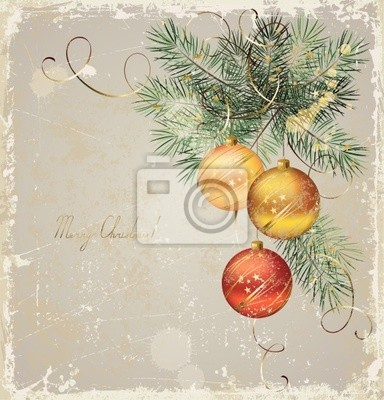 vintage  Christmas greeting-card with three evening balls