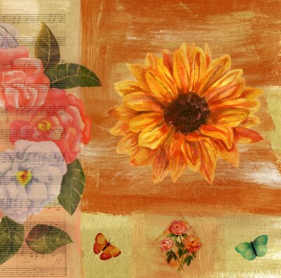 Canvas print Vintage collage with sheet music, butterflies, roses and sunflow