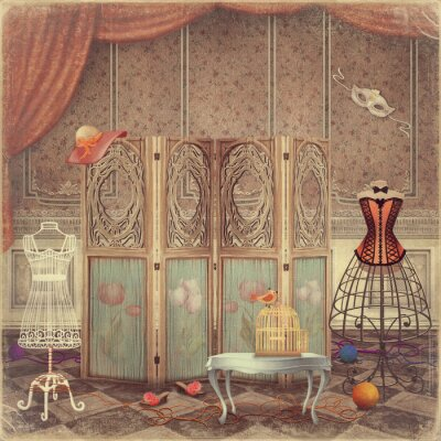 Canvas print    Vintage dummy and a screen in the room,fashionable and femini