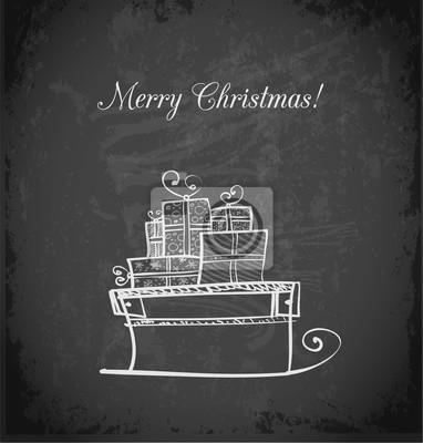 Vintage greeting card with Christmas sleigh