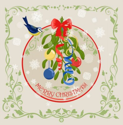 Vintage greeting Christmas card with hanging decoration with bunch of mistletoe with berries, blue tit, bow, ribbon, baubles and paper cutting snowflakes