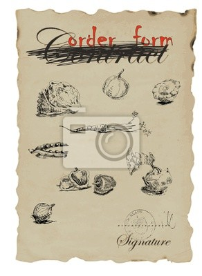 vintage image - hand drawing, vector - Fruits and vegetable