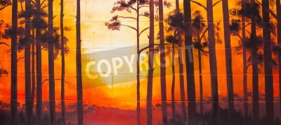 Vintage landscape Oil Painting on wall