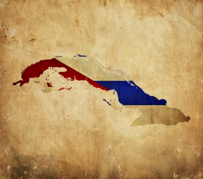 Canvas print Vintage map of Cuba on grunge paper