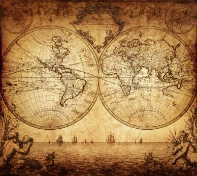 Canvas print vintage map of the world 1733