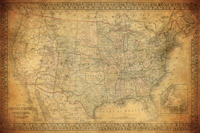 Canvas print Vintage map of United States 1867