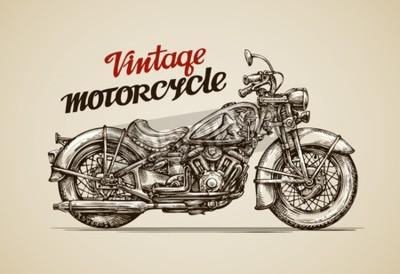 Canvas print Vintage motorcycle. Hand drawn motorbike vector illustration