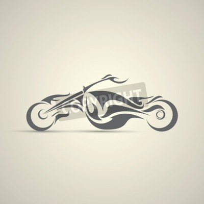 Canvas print vintage motorcycle label, badge, design element. abstract motorcycle logo