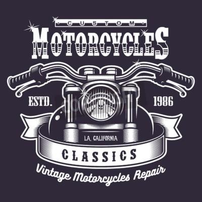 Canvas print Vintage motorcycle print. Monochrome on dark background