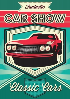 Canvas print Vintage poster for the exhibition of cars