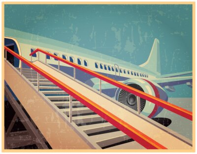 Canvas print Vintage poster with plane