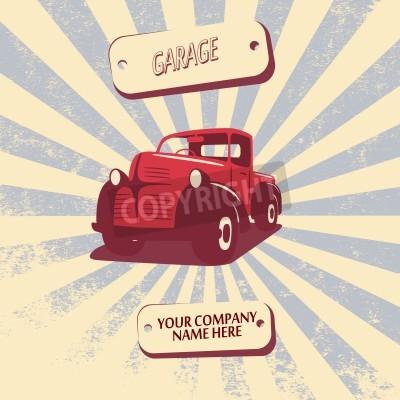 Canvas print Vintage retro pickup truck car vector illustration suitable for promotion, t-shirt designs, etc.