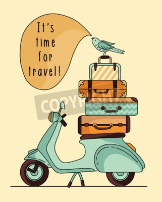 Canvas print Vintage scooter poster design. Scooter with baggage