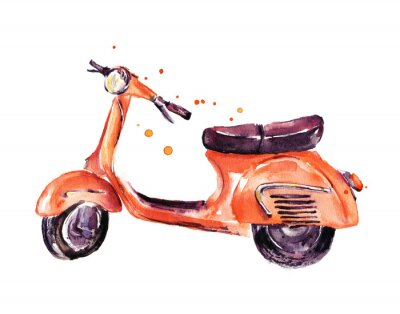 Canvas print Vintage scooter, watercolor illustration isolated on white