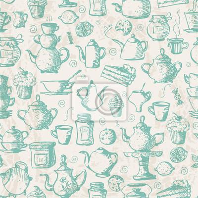 Vintage seamless tea background