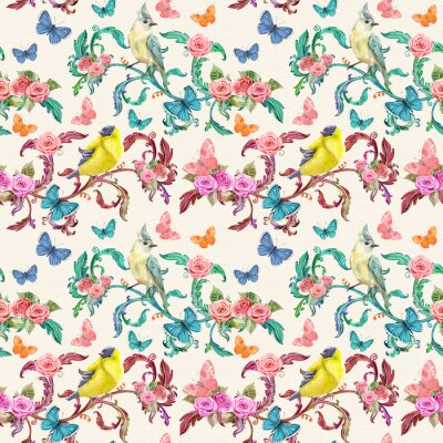 Canvas print vintage seamless texture with fancy floral and birds. watercolor painting.