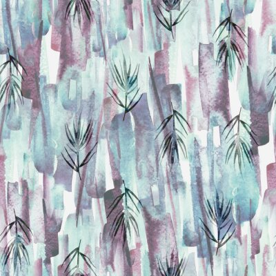 Canvas print Vintage seamless watercolor pattern of plants, wild grasses, algae, twigs, branch, rosemary, tropical, palm, plant. watercolor stylish pattern. Abstract green of paint splash. Trendy background.